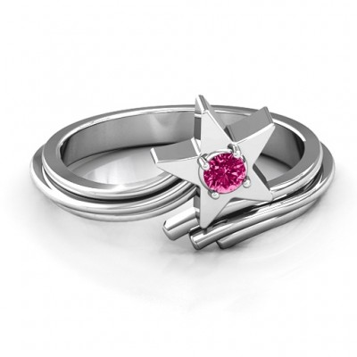 Shooting Star Personalised Ring - AMAZINGNECKLACE.COM