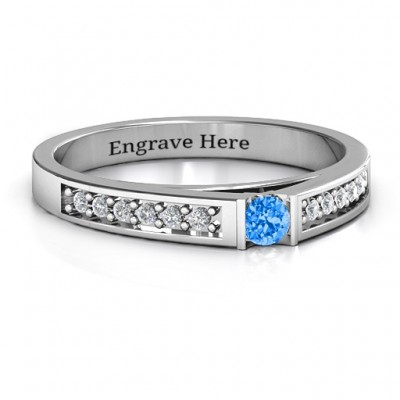 Solitaire Bridge Personalised Ring with Shoulder Accents - AMAZINGNECKLACE.COM