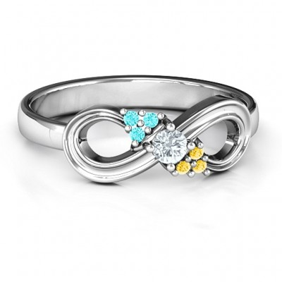 Solitaire Infinity Personalised Ring with Accents - AMAZINGNECKLACE.COM