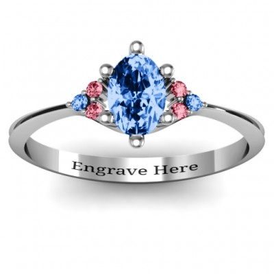 Solitaire Oval with Triple Accents Personalised Ring - AMAZINGNECKLACE.COM