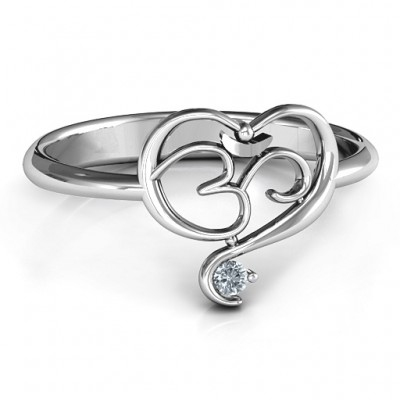 Spiritual Heart Om Personalised Ring - AMAZINGNECKLACE.COM
