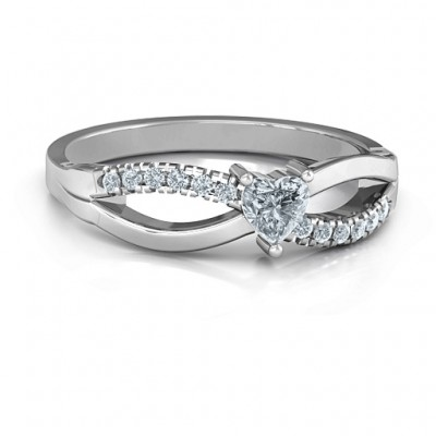 Split Shank Heart Promise Personalised Ring - AMAZINGNECKLACE.COM
