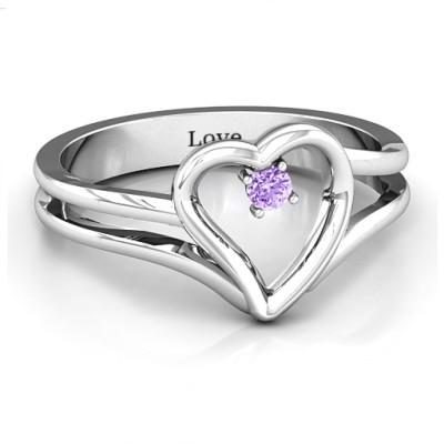 Split Shank Heart Personalised Ring - AMAZINGNECKLACE.COM