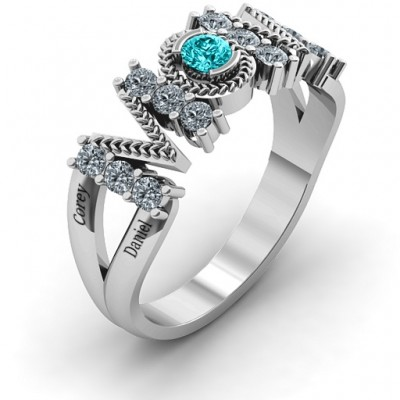 Split Shank Stone Filled MOM Personalised Ring  - AMAZINGNECKLACE.COM