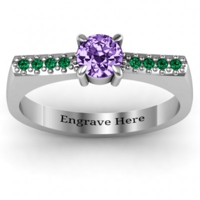 Square Shoulder Personalised Ring - AMAZINGNECKLACE.COM