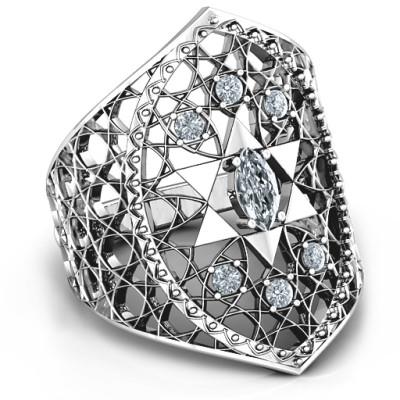 Star of David Lattice Personalised Ring - AMAZINGNECKLACE.COM