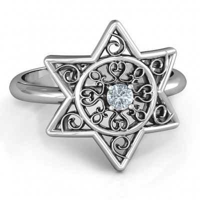 Star of David with Filigree Personalised Ring - AMAZINGNECKLACE.COM