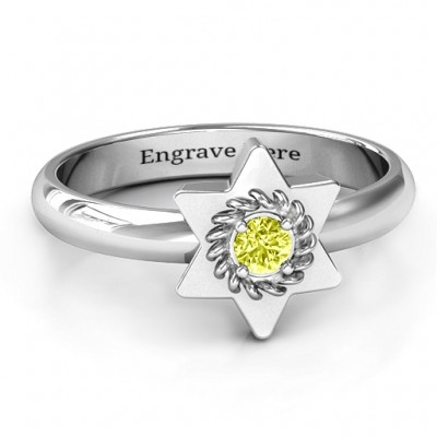 Star of David with Stone and Roping Personalised Ring  - AMAZINGNECKLACE.COM