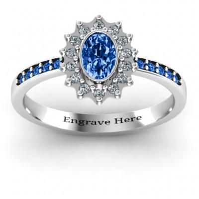 Starburst Personalised Ring with Stone Accents  - AMAZINGNECKLACE.COM