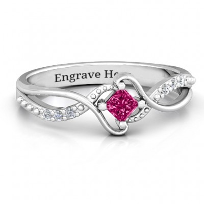 Sterling Silver  Espiral  Princess cut Personalised Ring with Accents - AMAZINGNECKLACE.COM