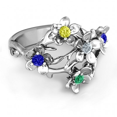 Sterling Silver  Garden Party  Personalised Ring - AMAZINGNECKLACE.COM