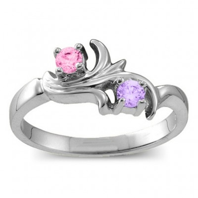 Sterling Silver  Nouveau  Flame 2-6 Gemstones Personalised Ring  - AMAZINGNECKLACE.COM