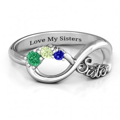 Sterling Silver 2-4 Stone Sisters Infinity Personalised Ring  - AMAZINGNECKLACE.COM