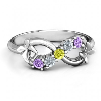 Sterling Silver 5 Stone Infinity with SoaPersonalised Ring Butterflies  - AMAZINGNECKLACE.COM