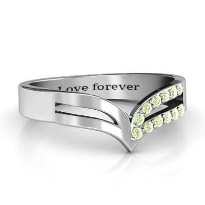 Sterling Silver Ahead Of The Curve Personalised Ring with Black Swarovski Zirconia Stones  - AMAZINGNECKLACE.COM