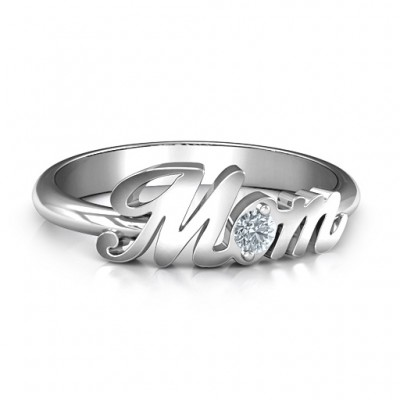 Sterling Silver All About Mom Birthstone Personalised Ring  - AMAZINGNECKLACE.COM