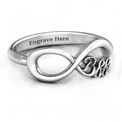 Sterling Silver BFF Friendship Infinity Personalised Ring - AMAZINGNECKLACE.COM