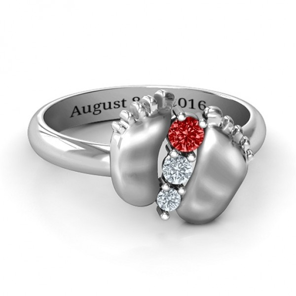 Sterling Silver Baby Foot Birthstone Personalised Ring  - AMAZINGNECKLACE.COM