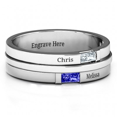 Sterling Silver Baguette Men's Personalised Ring - AMAZINGNECKLACE.COM