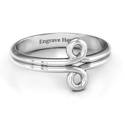 Sterling Silver Basket Weave Loop Personalised Ring - AMAZINGNECKLACE.COM