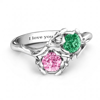 Sterling Silver Be-leaf In Love Double Gemstone Floral Personalised Ring  - AMAZINGNECKLACE.COM