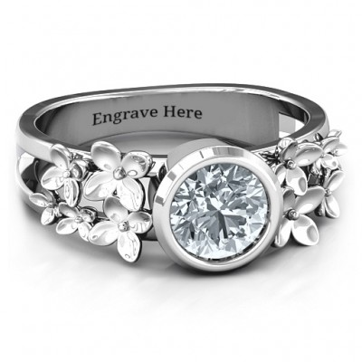 Sterling Silver Beautiful Blossoms with Split Shank Personalised Ring and Genuine Diamond Stone  - AMAZINGNECKLACE.COM
