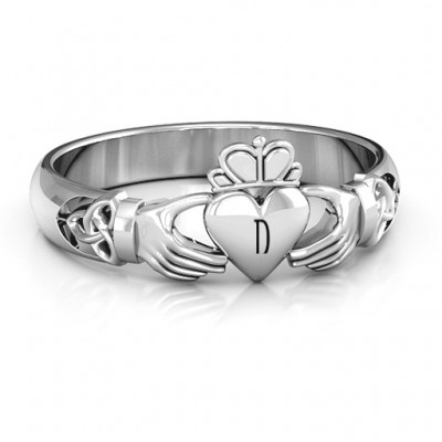 Sterling Silver Celtic Knotted Claddagh Personalised Ring - AMAZINGNECKLACE.COM