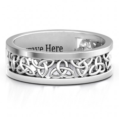 Sterling Silver Celtic Wreath Men's Personalised Ring - AMAZINGNECKLACE.COM