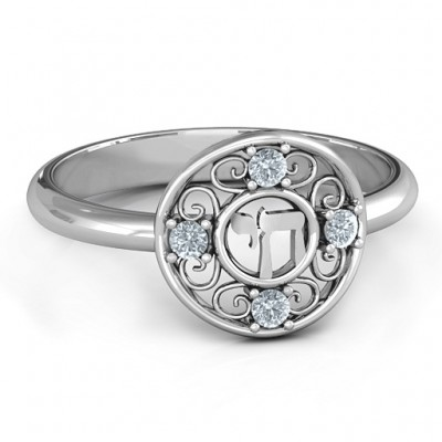 Sterling Silver Chai Filigree Personalised Ring - AMAZINGNECKLACE.COM