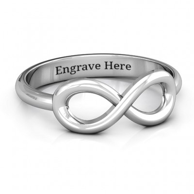 Sterling Silver Classic Infinity Personalised Ring - AMAZINGNECKLACE.COM