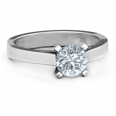 Sterling Silver Classic Solitaire Personalised Ring - AMAZINGNECKLACE.COM
