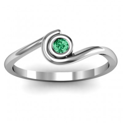 Sterling Silver Curved Bezel Personalised Ring - AMAZINGNECKLACE.COM