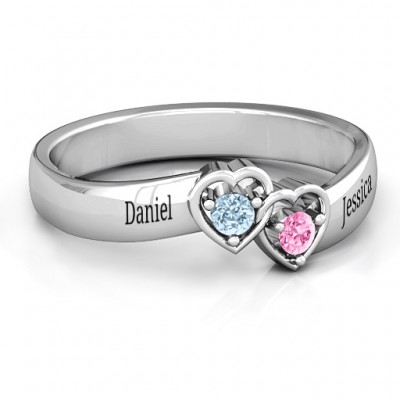 Sterling Silver Double Interlocked Hearts Personalised Ring - AMAZINGNECKLACE.COM