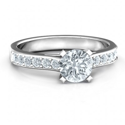 Sterling Silver Elegant Duchess Personalised Ring with Shoulder Accents - AMAZINGNECKLACE.COM
