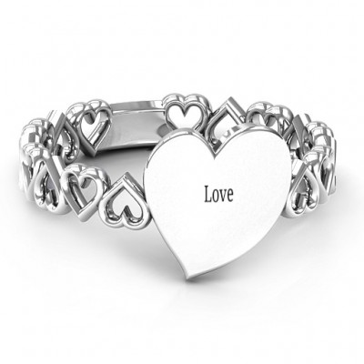 Sterling Silver Engravable Cut Out Hearts Personalised Ring - AMAZINGNECKLACE.COM