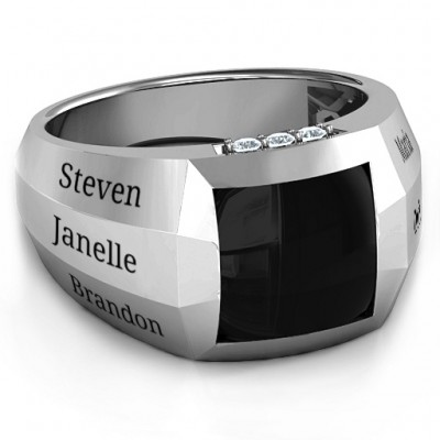 Sterling Silver Engravable Statement 6-Stone Men's Personalised Ring  - AMAZINGNECKLACE.COM