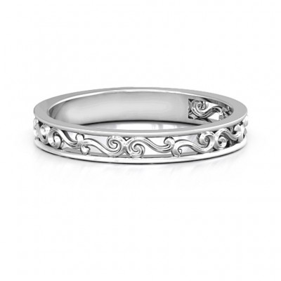 Sterling Silver Filigree Band Personalised Ring - AMAZINGNECKLACE.COM