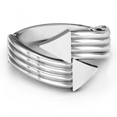 Sterling Silver Geometric Arrows and Triangles Bypass Personalised Ring - AMAZINGNECKLACE.COM
