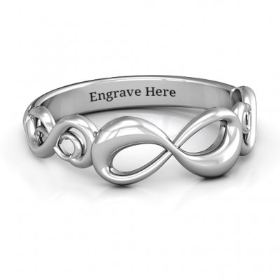 Sterling Silver Groovy Infinity Personalised Ring - AMAZINGNECKLACE.COM