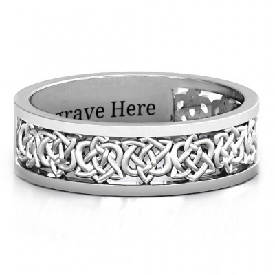 Sterling Silver Half Eternity Celtic Personalised Ring - AMAZINGNECKLACE.COM