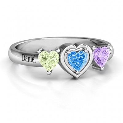 Sterling Silver Heart Stone with Twin Heart Accents Personalised Ring  - AMAZINGNECKLACE.COM