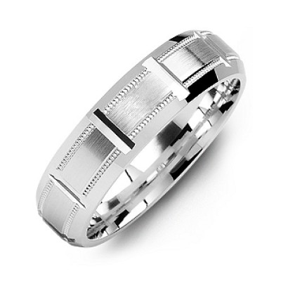 Sterling Silver Horizontal-Cut Men's Personalised Ring with Beveled Edge - AMAZINGNECKLACE.COM