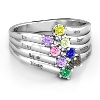 Sterling Silver Hydra Multi-Wave Personalised Ring - AMAZINGNECKLACE.COM