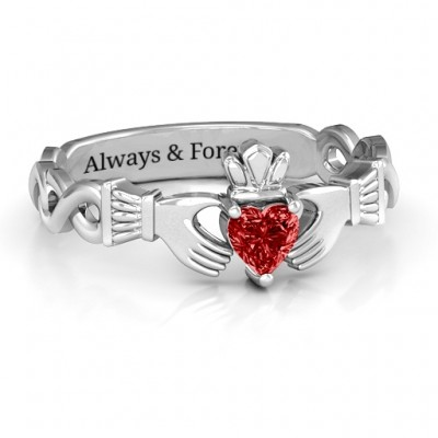 Sterling Silver Infinity Claddagh with Heart Stone Personalised Ring and Amethyst (Simulated) Stone  - AMAZINGNECKLACE.COM