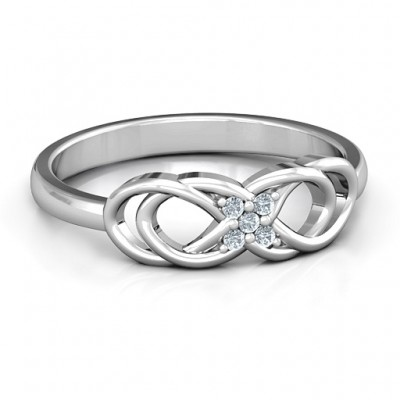 Sterling Silver Infinity Knot Personalised Ring with Accents - AMAZINGNECKLACE.COM