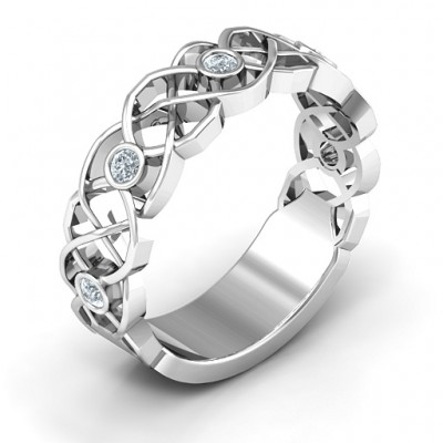 Sterling Silver Intertwined Love Band Personalised Ring - AMAZINGNECKLACE.COM