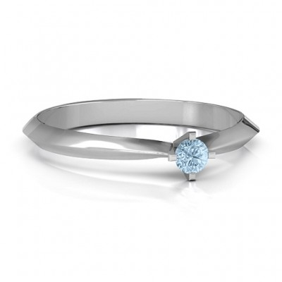 Sterling Silver Knife Edge Solitaire Personalised Ring - AMAZINGNECKLACE.COM