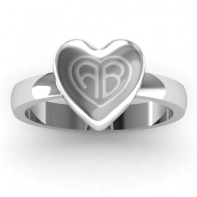 Sterling Silver Large Engraved Monogram Heart Personalised Ring - AMAZINGNECKLACE.COM