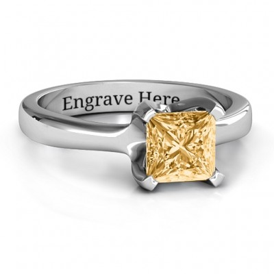 Sterling Silver Large Princess Solitaire Personalised Ring - AMAZINGNECKLACE.COM