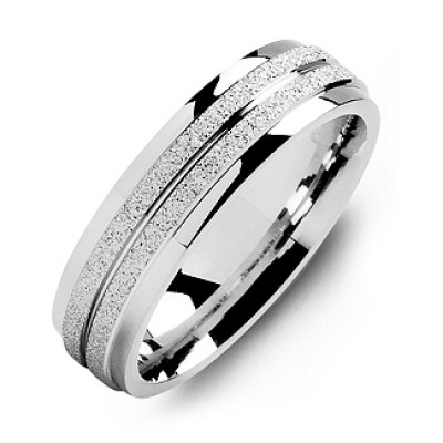Sterling Silver Laser-Finish Men's Personalised Ring with Polished Edges - AMAZINGNECKLACE.COM